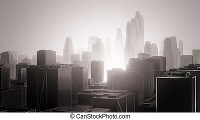 ciudad, fog., contaminación, aire
