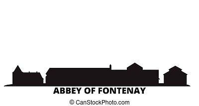 ciudad, fontenay, aislado, abadía, viaje, negro, contorno,...