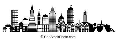 ciudad, francisco, arte, san, clip, panorama, contorno