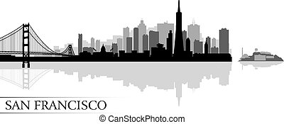 ciudad, francisco, silueta, san, contorno, plano de fondo