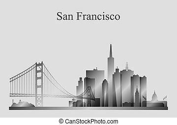 ciudad, francisco, silueta, san, grayscale, contorno