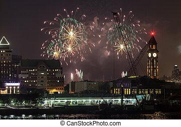 ciudad, fuegos artificiales, york, cuarto, nuevo, julio,...