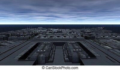 ciudad, futurista, scape