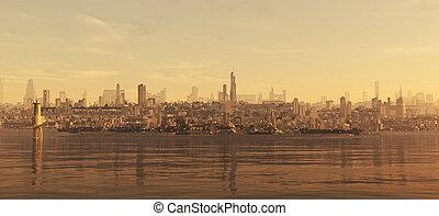 ciudad, futuro, litoral