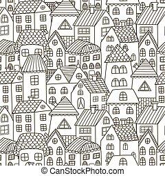 ciudad, garabato, pattern., seamless, casas, fondo negro, blanco