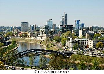 ciudad, gediminas, vista, castillo, vilnius