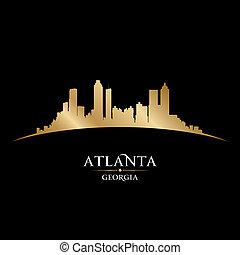 ciudad, georgia, silueta, contorno, fondo negro, atlanta