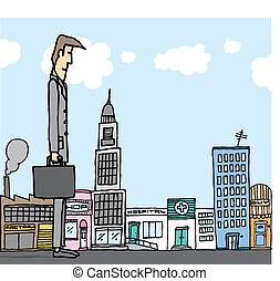ciudad, gigante, concepto, empresa / negocio, /, hombre de...
