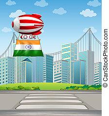 ciudad, globo, bandera india, aire