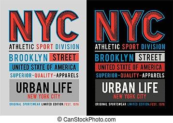 ciudad, gráfico, cartel, tipografía, camiseta, diseño, york...