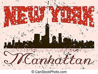 ciudad, gráfico, tipografía, grunge., york, nuevo, retro