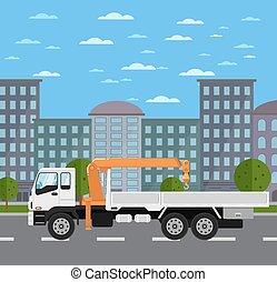 ciudad, grúa, montado, camión, camino