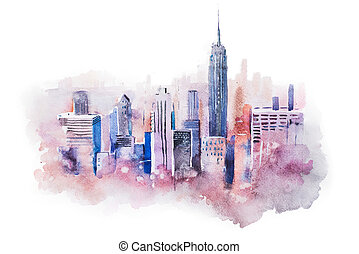 ciudad, grande, céntrico, dibujo, acuarela, cityscape,...