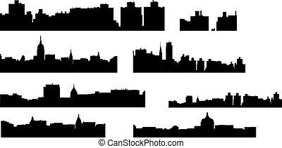ciudad, grande, conjunto, contornos, siluetas, vector