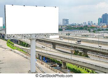 ciudad, grande, plano de fondo, blanco, cartelera, camino, vista