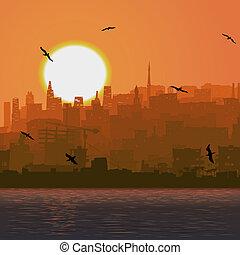 ciudad grande, por, el, mar, en, sunset.