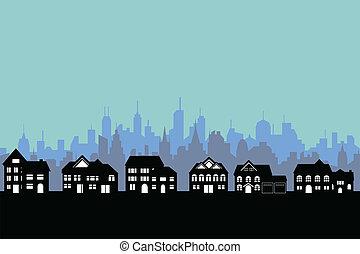 ciudad grande, y, suburbios