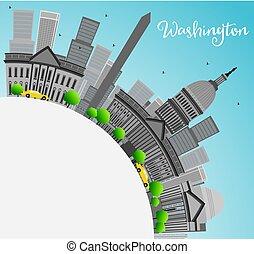 ciudad, gris, señales, washington dc, space., contorno, copia