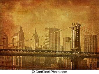 ciudad, grunge, vendimia, imagen, york, nuevo