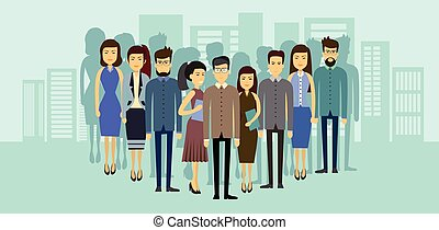 ciudad, grupo, empresarios, encima, businesspeople, asia, ...