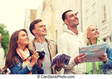 ciudad, guía, grupo, mapa, cámara, amigos