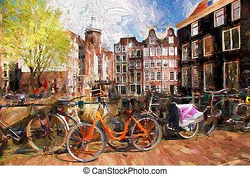 ciudad, holanda, estilo, ilustraciones, amsterdam, pintura