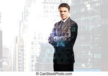ciudad, hombre de negocios, plano de fondo, traje