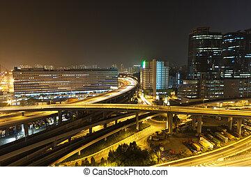ciudad, hong, area., kong, céntrico, escena, tráfico