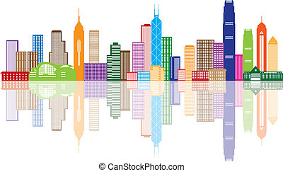 ciudad, hong, color, panorama, ilustración, kong, contorno