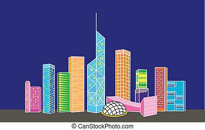 ciudad, hong kong, noche