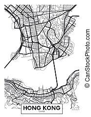 ciudad, hong, mapa, cartel, kong, vector