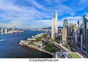 ciudad, hong, moderno, kong