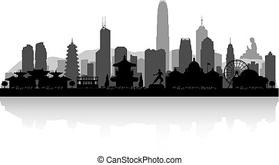 ciudad, hong, silueta, kong, contorno, china