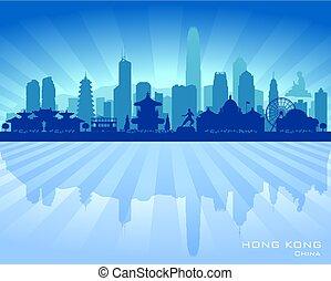 ciudad, hong, silueta, kong, contorno, vector, china