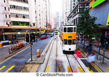 ciudad, hongkong, moderno, movimiento, tráfico, mancha