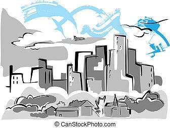 ciudad, houses., vector, ilustración