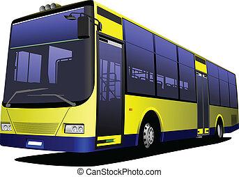 ciudad, illu, amarillo, vector, bus., coach.