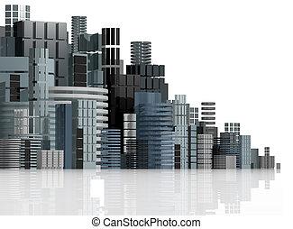 ciudad, illustration., futurista, panorama