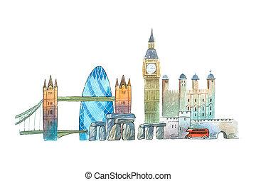 ciudad, illustration., señales, famoso, contorno, londres,...
