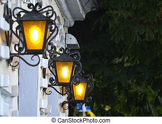 ciudad, iluminación, linternas, viejo