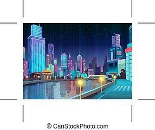 ciudad, ilustración, noche