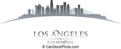ciudad, ilustración, silhouette., angeles, los, contorno, ...