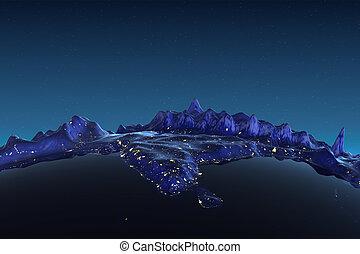 ciudad, india, alivio, luces