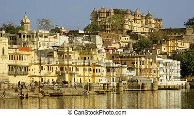 ciudad, india, escena, udaipur, diario