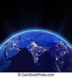 ciudad, india, luces, noche