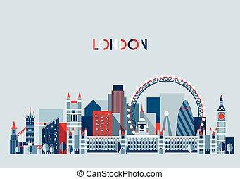 ciudad, inglaterra, plano, contorno, trendy., vector.,...