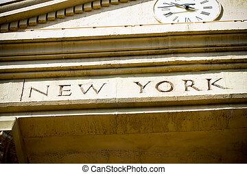 ciudad, inspirado, detalle, york, fachada, nuevo, vestíbulo