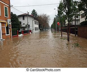 ciudad, invades, inundación, barro, totalmente, sumergido, ...