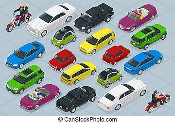 ciudad, isométrico, conjunto, iconos, coche, alto, calidad,...