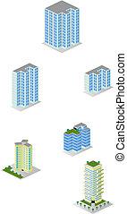 ciudad, isométrico, edificios de departamentos, paquete
